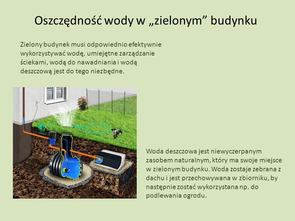 Oszczędność wody w zielonym budynku Woda deszczowa jest niewyczerpanym zasobem naturalnym, który ma swoje miejsce w zielonym budynku. Woda zostaje zeb