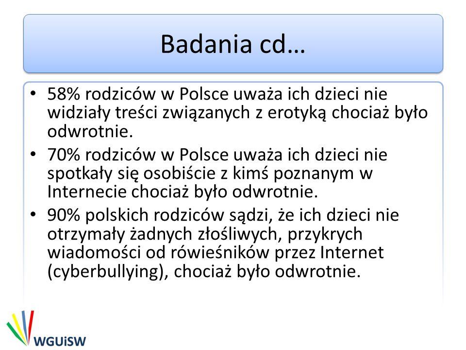 Badania cd… 58% rodziców w Polsce uważa ich dzieci nie widziały treści związanych z erotyką chociaż było odwrotnie. 70% rodziców w Polsce uważa ich dz