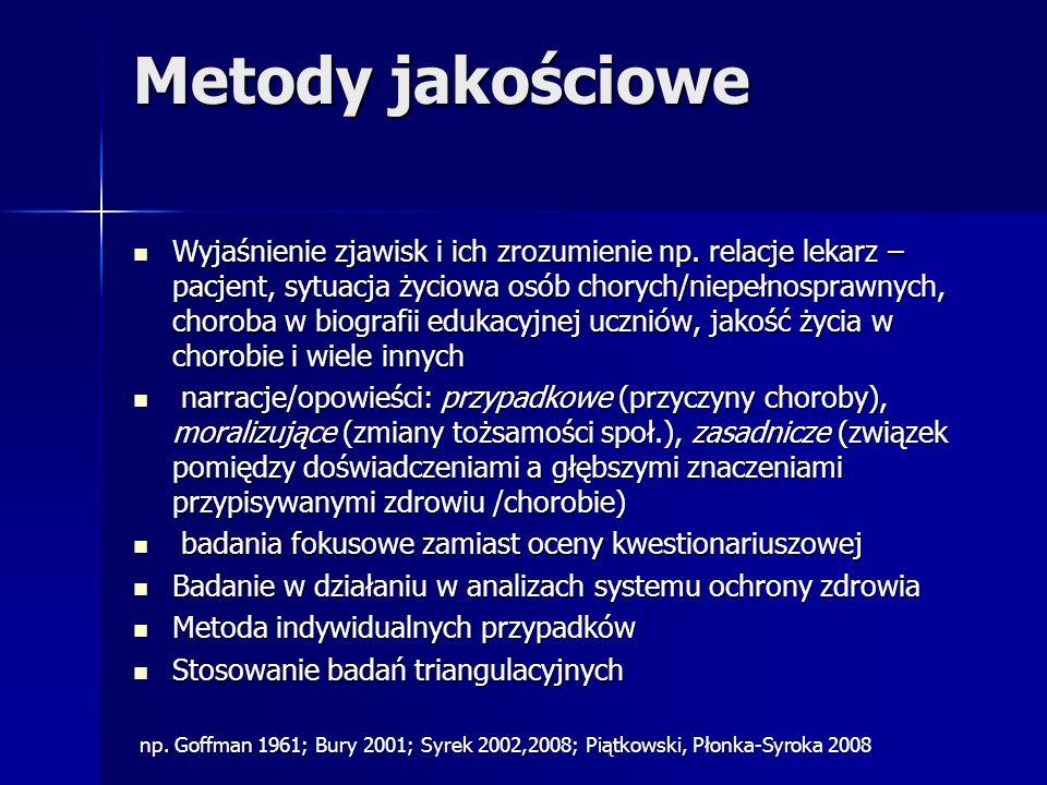 Metody jakościowe Wyjaśnienie zjawisk i ich zrozumienie np. relacje lekarz – pacjent, sytuacja życiowa osób chorych/niepełnosprawnych, choroba w biogr