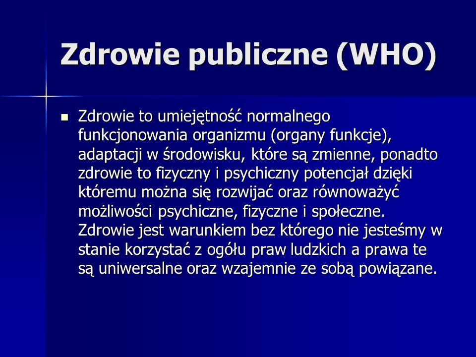Zdrowie publiczne (WHO) Zdrowie to umiejętność normalnego funkcjonowania organizmu (organy funkcje), adaptacji w środowisku, które są zmienne, ponadto