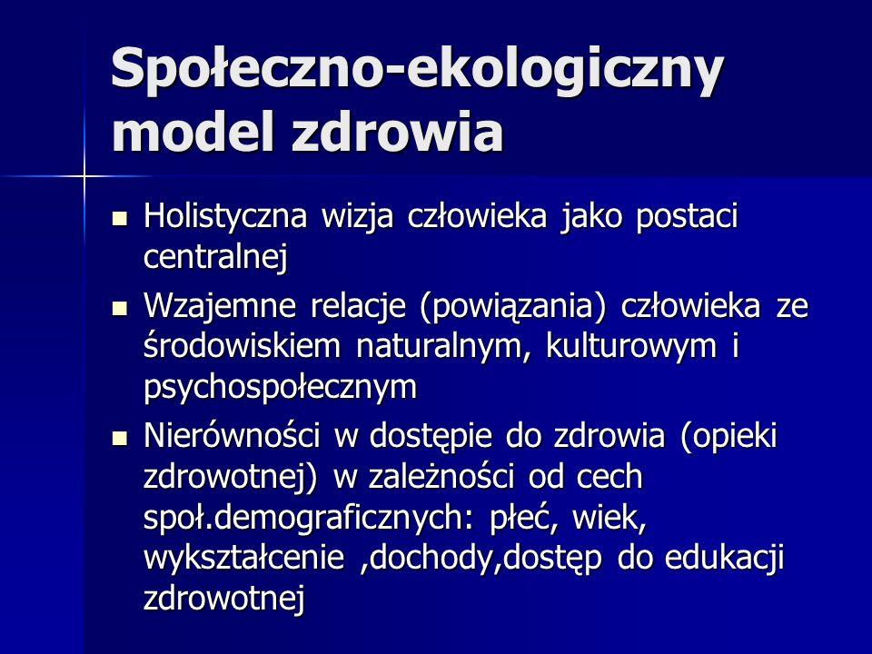 Społeczno-ekologiczny model zdrowia Holistyczna wizja człowieka jako postaci centralnej Holistyczna wizja człowieka jako postaci centralnej Wzajemne r
