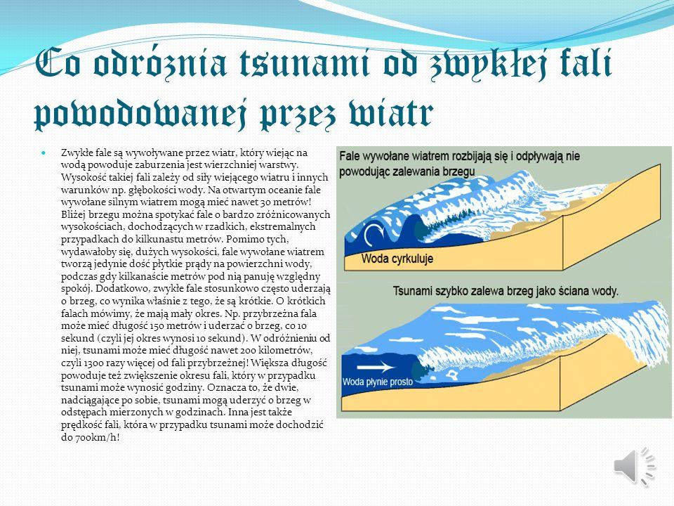 Rodzaje Tsunami Wyróżnia się trzy rodzaje tsunami: lokalne – miejsce wzbudzenia fali znajduje się blisko wybrzeża, a czas jej przybycia wynosi do pół