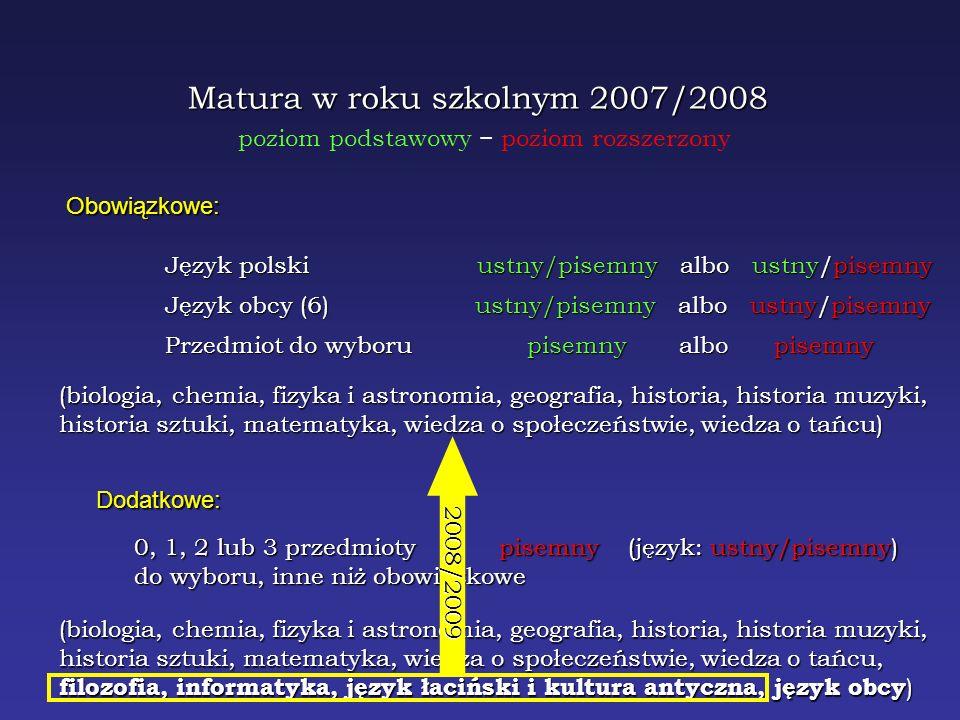 Matura w roku szkolnym 2008/2009 Obowiązkowe: Język polski ustny/pisemny albo ustny/pisemny Język obcy (6) ustny/pisemny albo ustny/pisemny Przedmiot do wyboru pisemny albo pisemny Dodatkowe: 0, 1, 2 lub 3 przedmioty pisemny (język: ustny/pisemny) do wyboru, inne niż obowiązkowe (biologia, chemia, fizyka i astronomia, geografia, historia, historia muzyki, historia sztuki, matematyka, wiedza o społeczeństwie, wiedza o tańcu, filozofia, informatyka, język łaciński i kultura antyczna) (biologia, chemia, fizyka i astronomia, geografia, historia, historia muzyki, historia sztuki, matematyka, wiedza o społeczeństwie, wiedza o tańcu, filozofia, informatyka, język łaciński i kultura antyczna, język obcy ) Musi się odbyć w kształcie zaprojektowanym – informatory są przygotowane, uczelnie już określiły wymagania rekrutacyjne