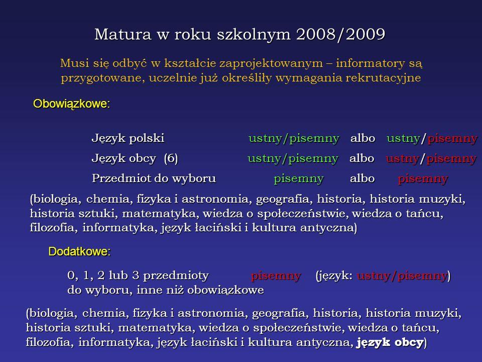 Matura w roku szkolnym 2008/2009 Obowiązkowe: Język polski ustny/pisemny albo ustny/pisemny Język obcy (6) ustny/pisemny albo ustny/pisemny Przedmiot