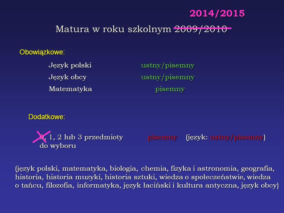 W roku 2009 maturę obowiązkową będzie można zdawać na 624 sposoby Całą: na 520416 sposobów W roku 2008 maturę obowiązkową można było zdawać na 480 sposobów Całą: na 400320 sposobów W roku 2010 maturę obowiązkową można będzie zdawać na 6 sposobów (tylko wybór języka) Całą: na 8106 sposobów W roku 2015 maturę obowiązkową będzie można zdawać na 6 sposobów Całą: na 8100 sposobów