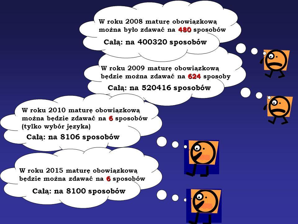 W roku 2009 maturę obowiązkową będzie można zdawać na 624 sposoby Całą: na 520416 sposobów W roku 2008 maturę obowiązkową można było zdawać na 480 spo