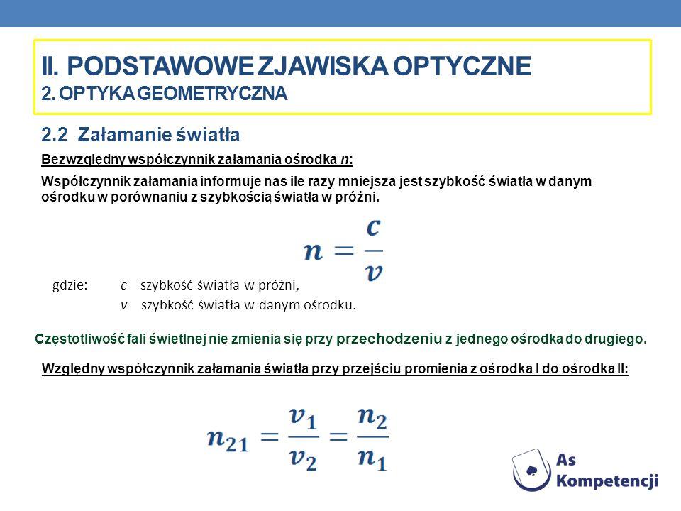 II. PODSTAWOWE ZJAWISKA OPTYCZNE 2. OPTYKA GEOMETRYCZNA 2.2 Załamanie światła Bezwzględny współczynnik załamania ośrodka n: Współczynnik załamania inf