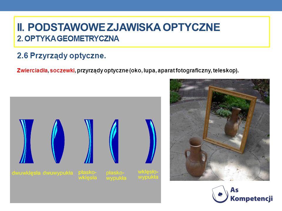 II. PODSTAWOWE ZJAWISKA OPTYCZNE 2. OPTYKA GEOMETRYCZNA 2.6 Przyrządy optyczne. Zwierciadła, soczewki, przyrządy optyczne (oko, lupa, aparat fotografi
