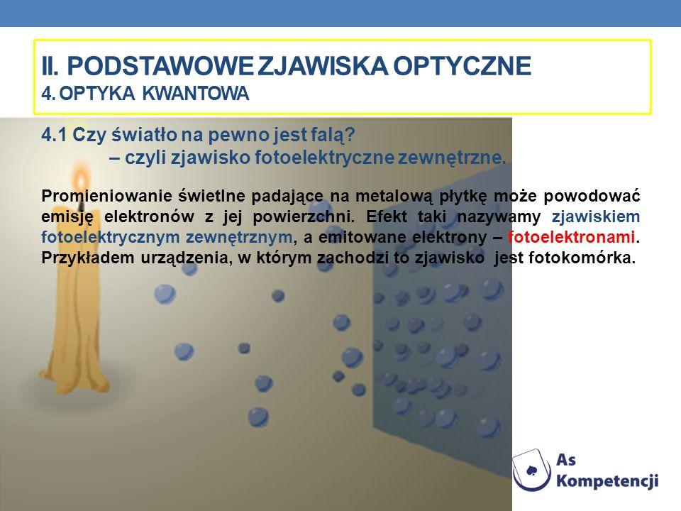 II. PODSTAWOWE ZJAWISKA OPTYCZNE 4. OPTYKA KWANTOWA 4.1 Czy światło na pewno jest falą? – czyli zjawisko fotoelektryczne zewnętrzne. Promieniowanie św