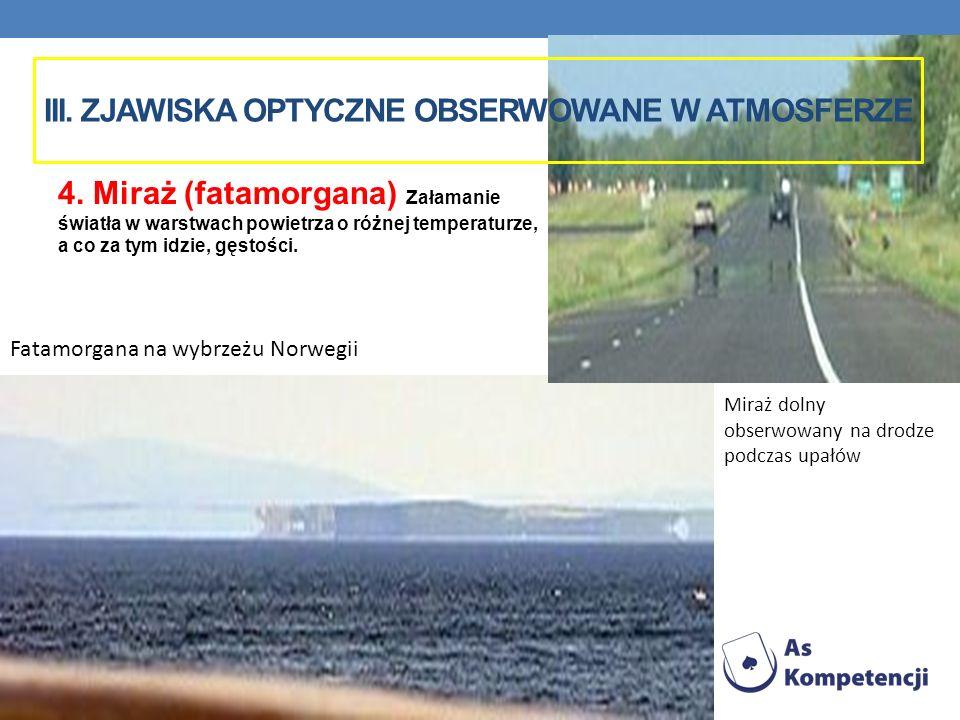 Fatamorgana na wybrzeżu Norwegii III. ZJAWISKA OPTYCZNE OBSERWOWANE W ATMOSFERZE 4. Miraż (fatamorgana) Załamanie światła w warstwach powietrza o różn