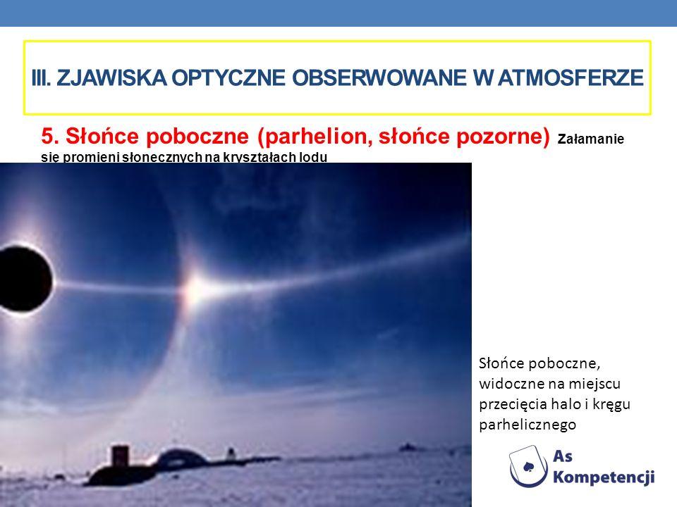 III. ZJAWISKA OPTYCZNE OBSERWOWANE W ATMOSFERZE 5. Słońce poboczne (parhelion, słońce pozorne) Załamanie się promieni słonecznych na kryształach lodu