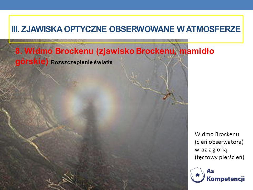 Widmo Brockenu (cień obserwatora) wraz z glorią (tęczowy pierścień) 8. Widmo Brockenu (zjawisko Brockenu, mamidło górskie) Rozszczepienie światła III.
