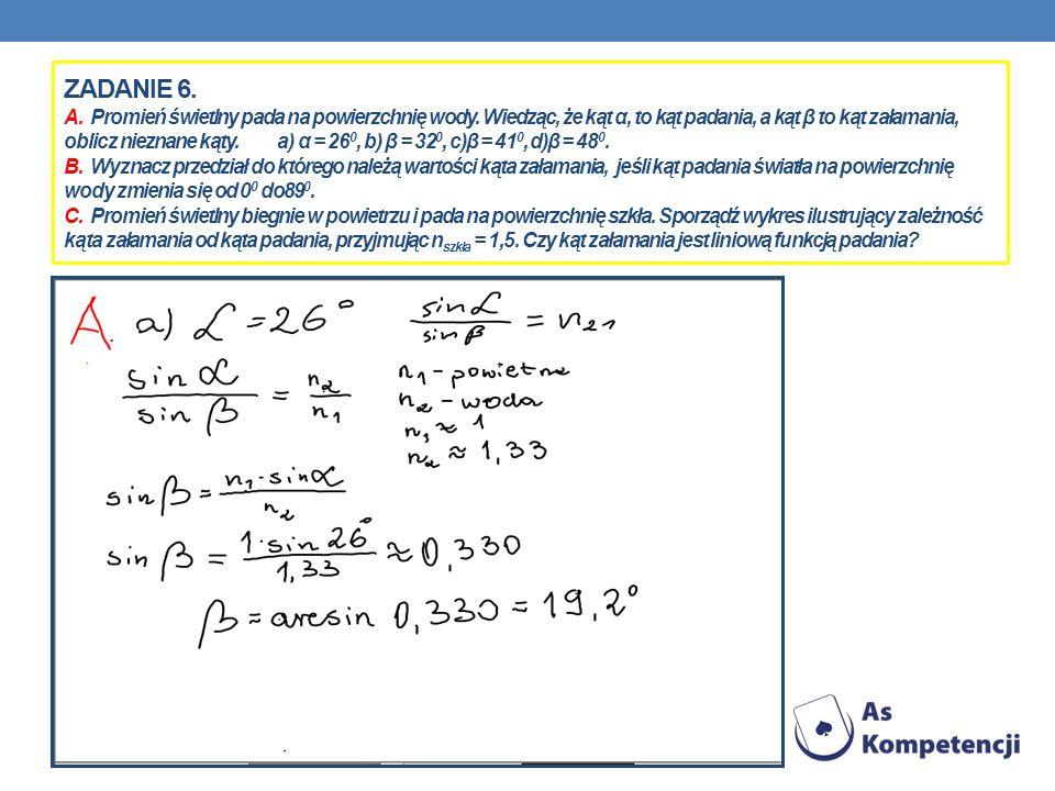 ZADANIE 6. A. Promień świetlny pada na powierzchnię wody. Wiedząc, że kąt α, to kąt padania, a kąt β to kąt załamania, oblicz nieznane kąty. a) α = 26