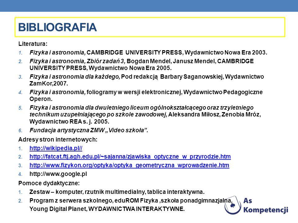 Literatura: 1. Fizyka i astronomia, CAMBRIDGE UNIVERSITY PRESS, Wydawnictwo Nowa Era 2003. 2. Fizyka i astronomia, Zbiór zadań 3, Bogdan Mendel, Janus