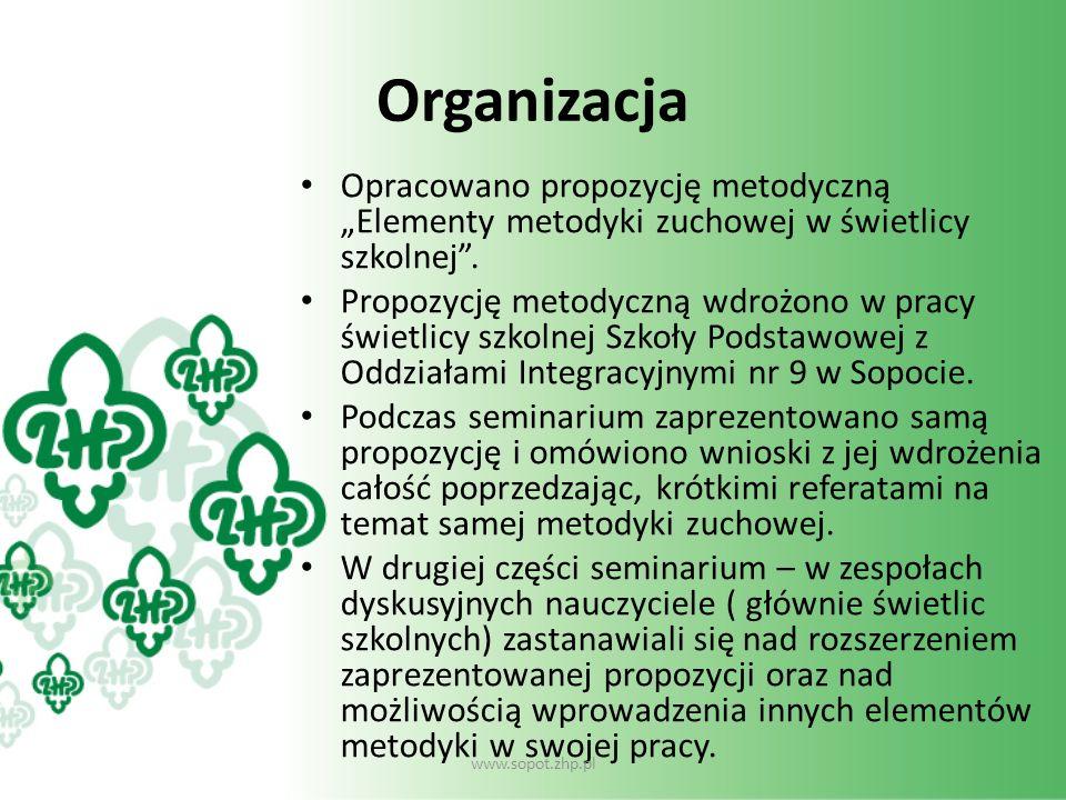 Organizacja Opracowano propozycję metodyczną Elementy metodyki zuchowej w świetlicy szkolnej. Propozycję metodyczną wdrożono w pracy świetlicy szkolne