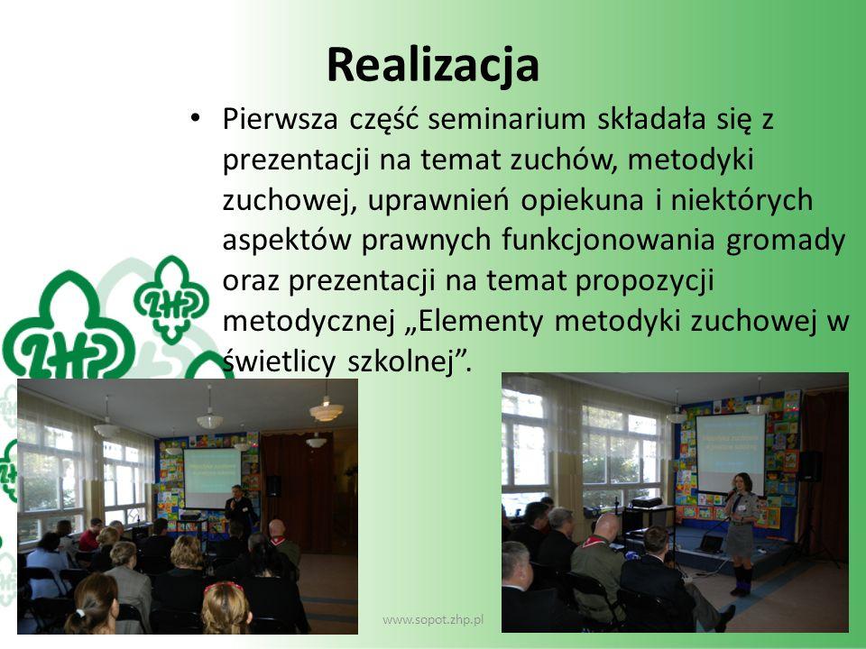 Realizacja Pierwsza część seminarium składała się z prezentacji na temat zuchów, metodyki zuchowej, uprawnień opiekuna i niektórych aspektów prawnych