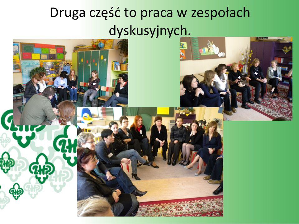 Druga część to praca w zespołach dyskusyjnych. www.sopot.zhp.pl