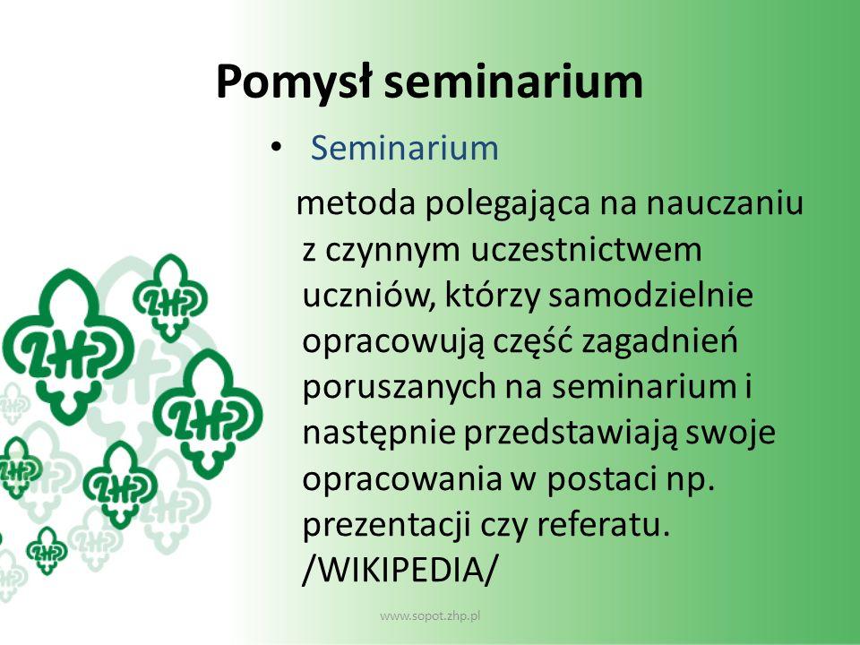 Pomysł seminarium Seminarium metoda polegająca na nauczaniu z czynnym uczestnictwem uczniów, którzy samodzielnie opracowują część zagadnień poruszanyc