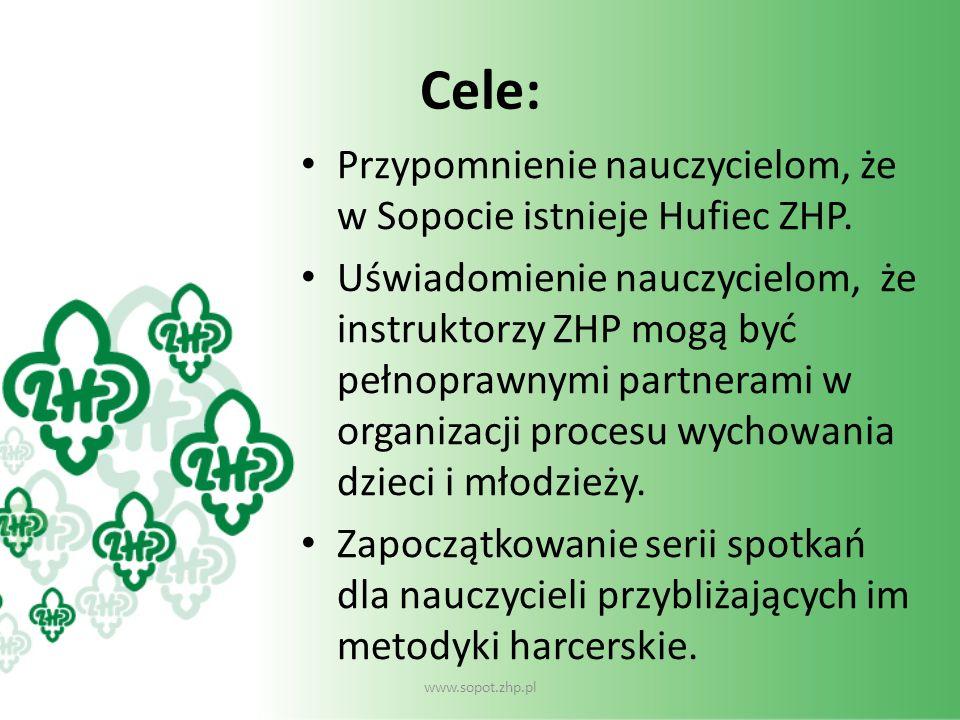 Cele: Przypomnienie nauczycielom, że w Sopocie istnieje Hufiec ZHP. Uświadomienie nauczycielom, że instruktorzy ZHP mogą być pełnoprawnymi partnerami