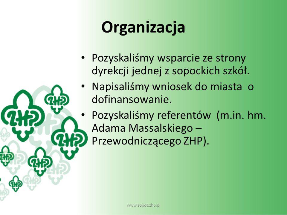 Organizacja Pozyskaliśmy wsparcie ze strony dyrekcji jednej z sopockich szkół. Napisaliśmy wniosek do miasta o dofinansowanie. Pozyskaliśmy referentów