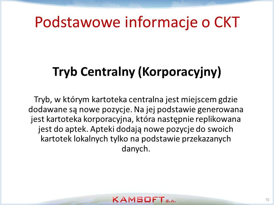 10 Tryb Centralny (Korporacyjny) Podstawowe informacje o CKT Tryb, w którym kartoteka centralna jest miejscem gdzie dodawane są nowe pozycje. Na jej p