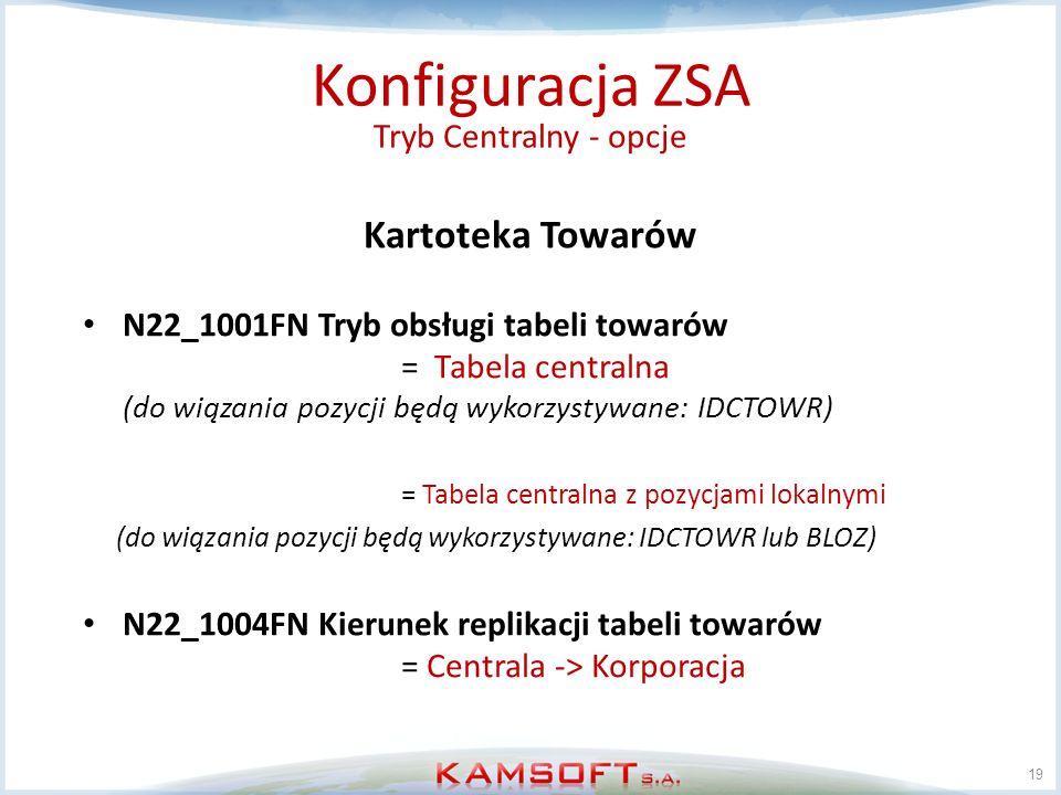 19 Konfiguracja ZSA Tryb Centralny - opcje Kartoteka Towarów N22_1001FN Tryb obsługi tabeli towarów = Tabela centralna (do wiązania pozycji będą wykor