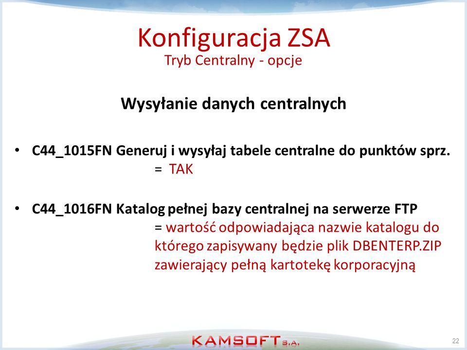 22 Konfiguracja ZSA Wysyłanie danych centralnych C44_1015FN Generuj i wysyłaj tabele centralne do punktów sprz. = TAK C44_1016FN Katalog pełnej bazy c