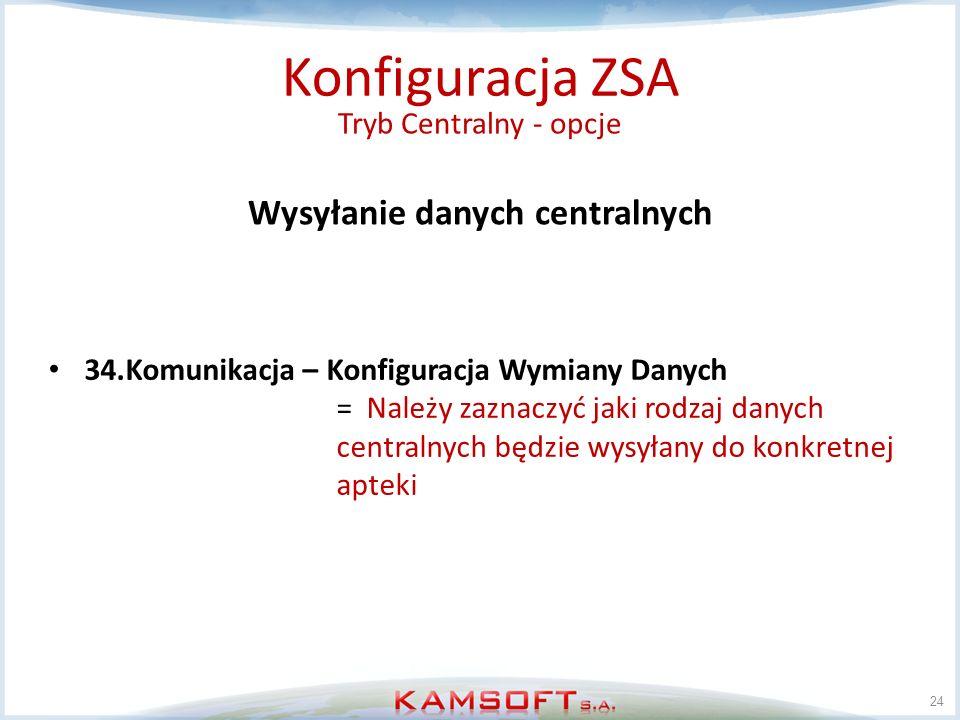 24 Konfiguracja ZSA Tryb Centralny - opcje Wysyłanie danych centralnych 34.Komunikacja – Konfiguracja Wymiany Danych = Należy zaznaczyć jaki rodzaj da