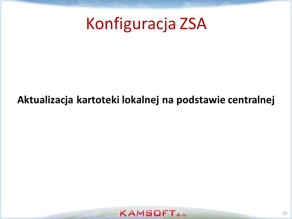 29 Konfiguracja ZSA Aktualizacja kartoteki lokalnej na podstawie centralnej