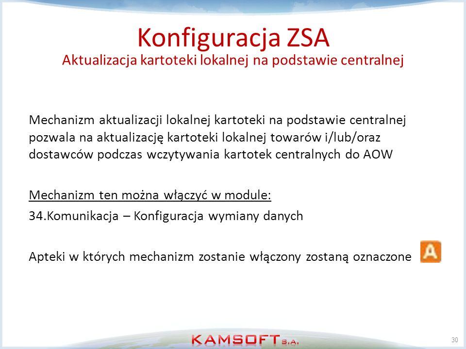 30 Konfiguracja ZSA Aktualizacja kartoteki lokalnej na podstawie centralnej Mechanizm aktualizacji lokalnej kartoteki na podstawie centralnej pozwala