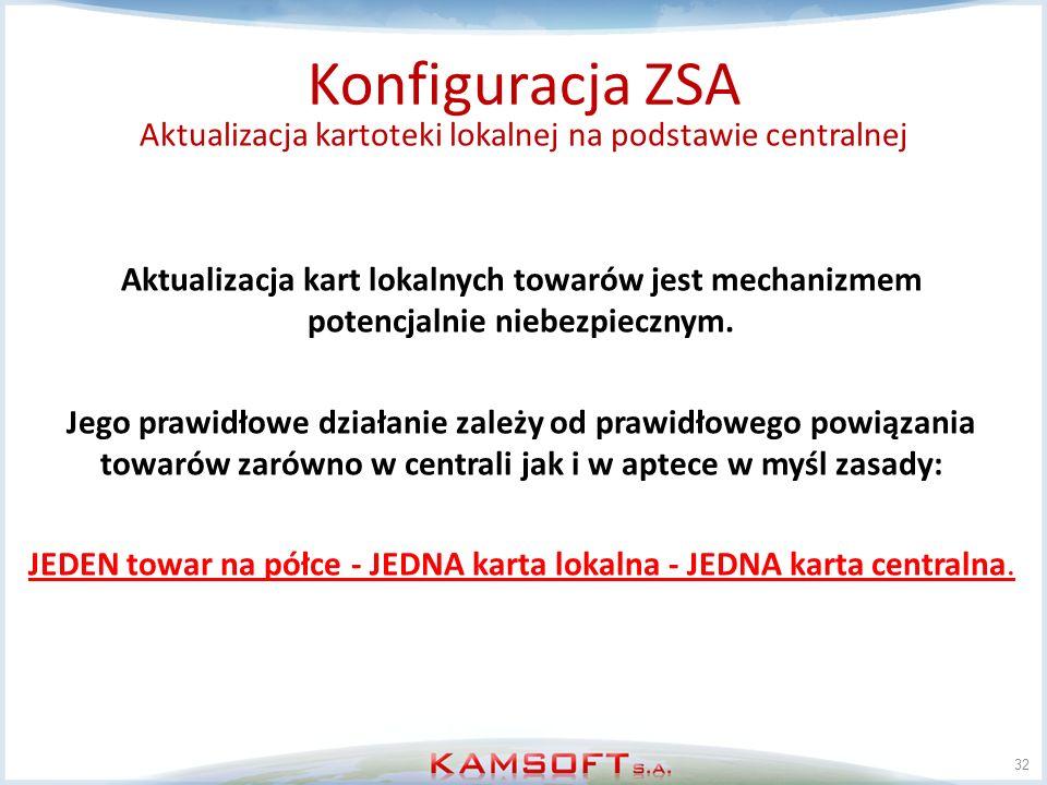 32 Konfiguracja ZSA Aktualizacja kartoteki lokalnej na podstawie centralnej Aktualizacja kart lokalnych towarów jest mechanizmem potencjalnie niebezpi