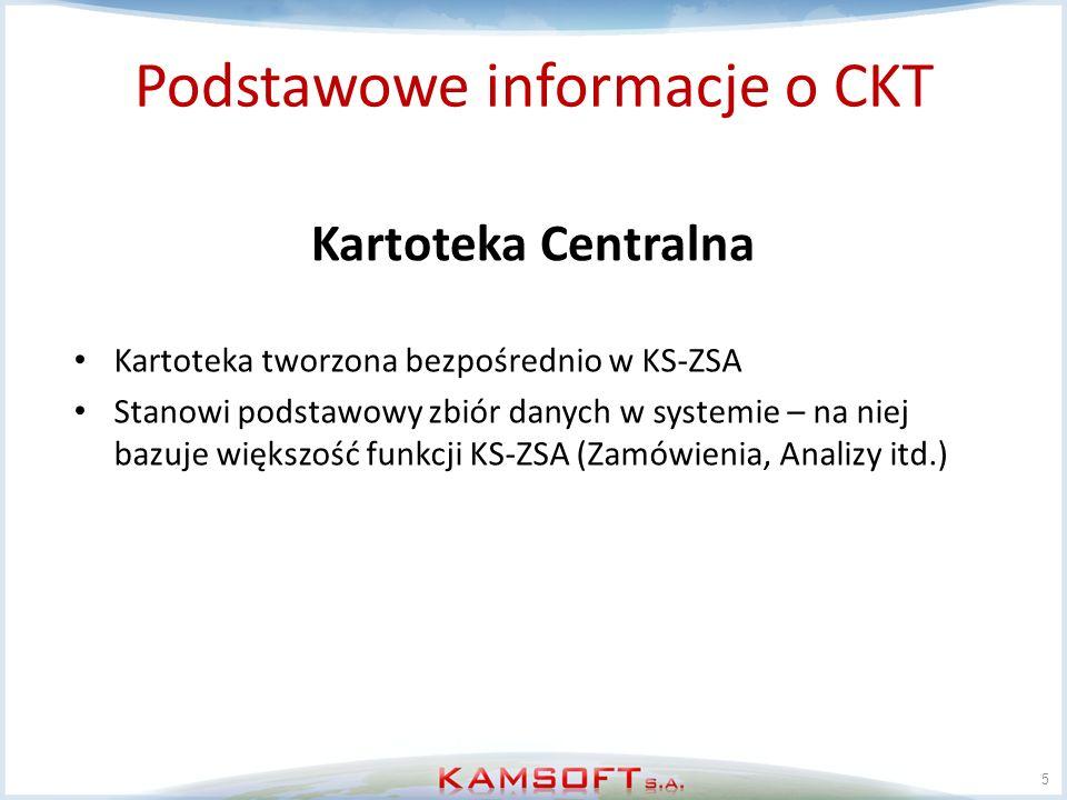 6 Podstawowe informacje o CKT Kartoteka Centralna rozsyłana do aptek Kartoteka tworzona bezpośrednio w KS-ZSA na podstawie CKT Pełni rolę pośrednią pomiędzy centralą a apteką Można ją traktować jako bufor który połączony jest z kartoteką centralną w relacji 1:1 Na jej podstawie zakładane mogą być karty w aptece.
