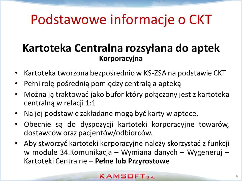 6 Podstawowe informacje o CKT Kartoteka Centralna rozsyłana do aptek Kartoteka tworzona bezpośrednio w KS-ZSA na podstawie CKT Pełni rolę pośrednią po