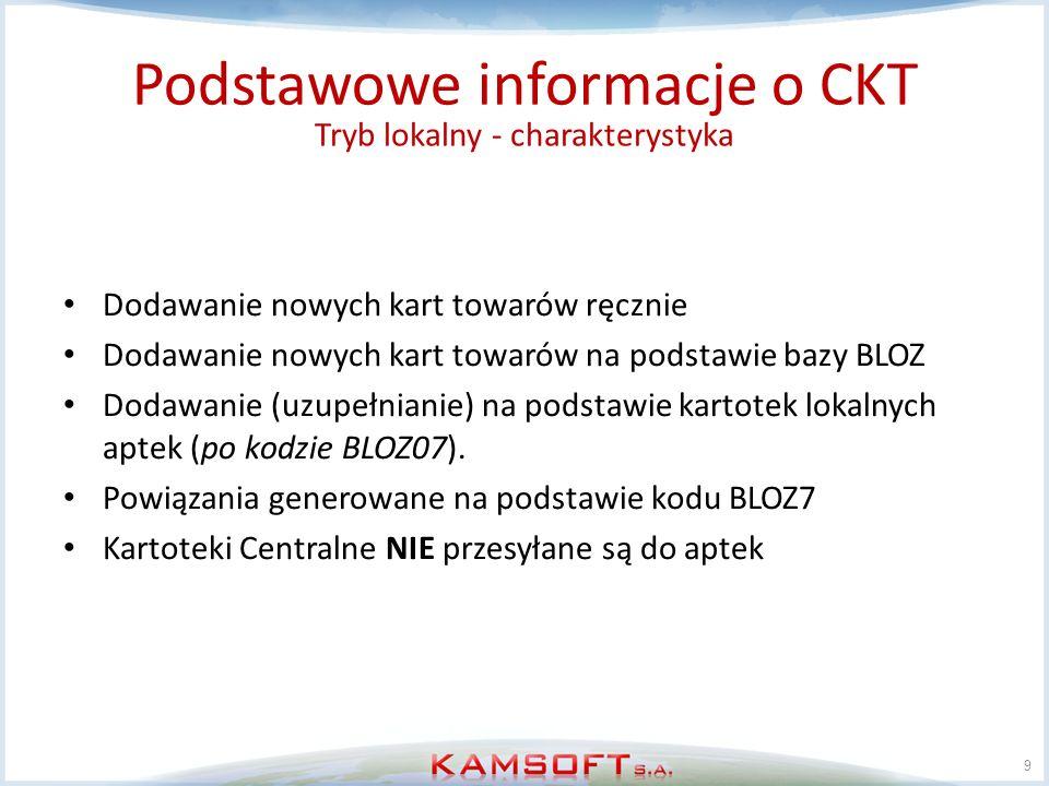 10 Tryb Centralny (Korporacyjny) Podstawowe informacje o CKT Tryb, w którym kartoteka centralna jest miejscem gdzie dodawane są nowe pozycje.
