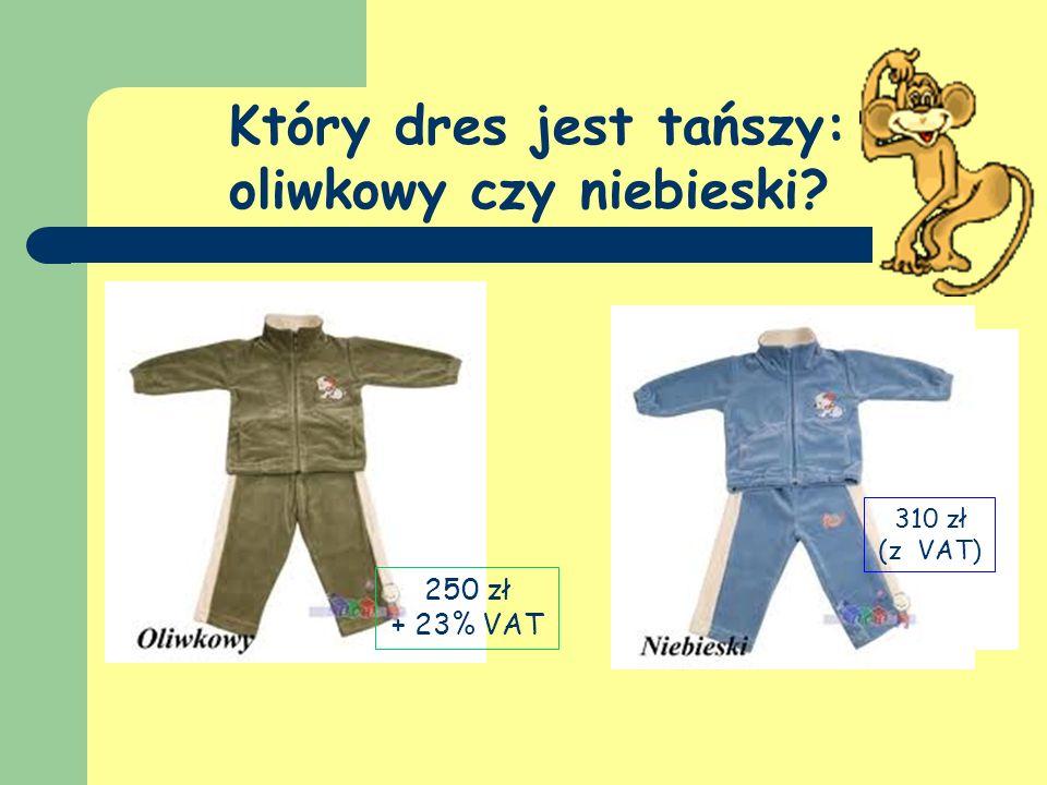 Który dres jest tańszy: oliwkowy czy niebieski? 250 zł + 23% VAT 310 zł (z VAT)