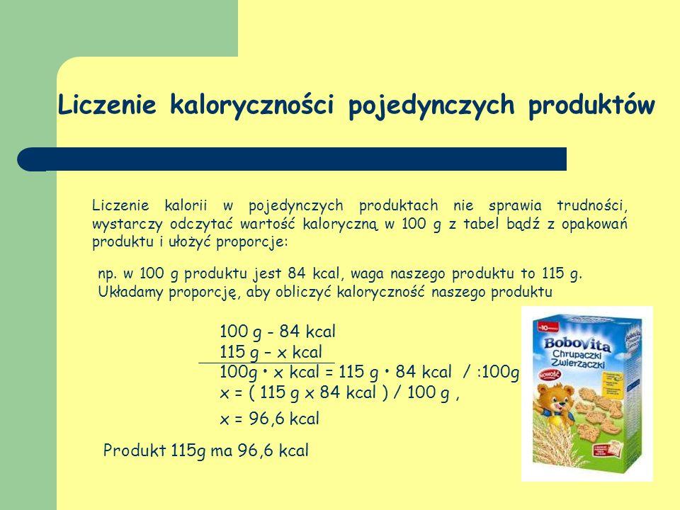 Liczenie kaloryczności pojedynczych produktów Liczenie kalorii w pojedynczych produktach nie sprawia trudności, wystarczy odczytać wartość kaloryczną w 100 g z tabel bądź z opakowań produktu i ułożyć proporcje: 100 g - 84 kcal 115 g – x kcal 100g x kcal = 115 g 84 kcal / :100g x = ( 115 g x 84 kcal ) / 100 g, x = 96,6 kcal Produkt 115g ma 96,6 kcal np.