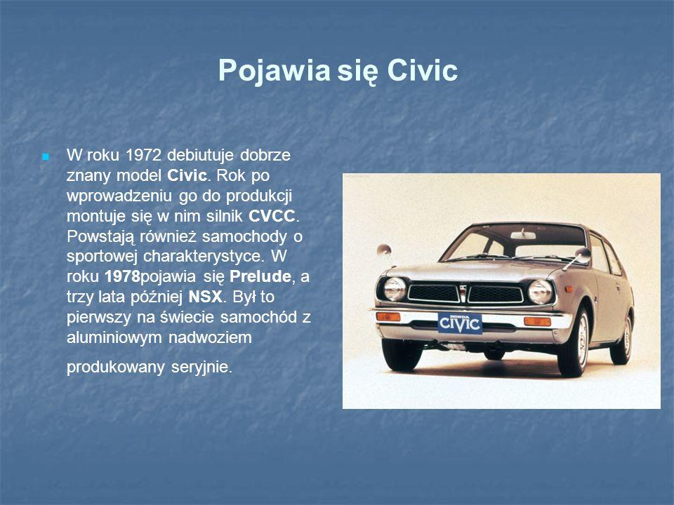 Pojawia się Civic W roku 1972 debiutuje dobrze znany model Civic. Rok po wprowadzeniu go do produkcji montuje się w nim silnik CVCC. Powstają również