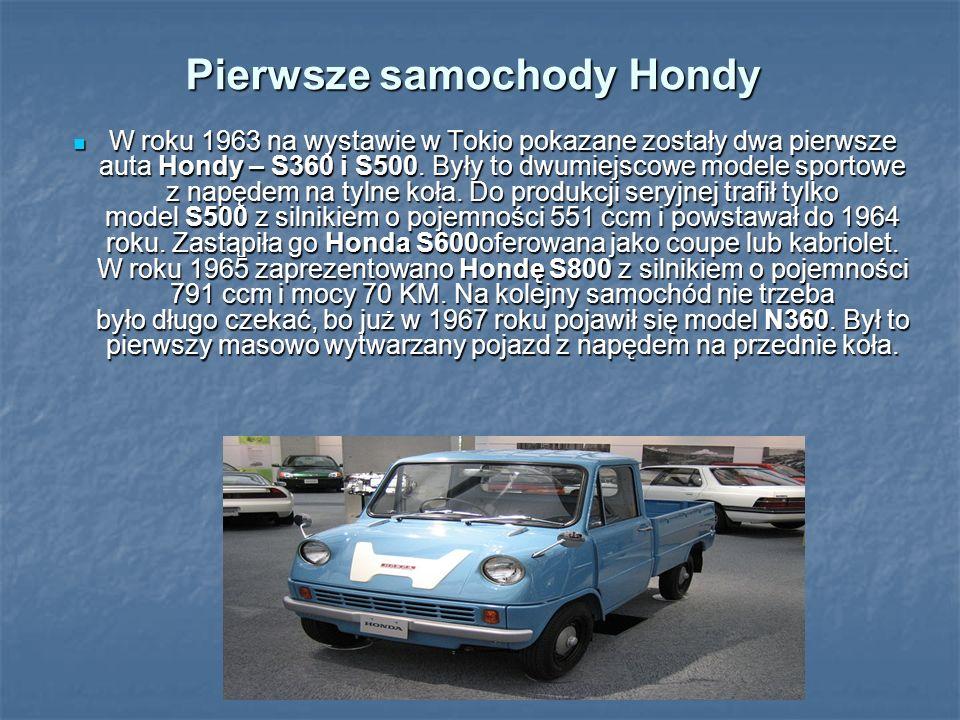 Pierwsze samochody Hondy W roku 1963 na wystawie w Tokio pokazane zostały dwa pierwsze auta Hondy – S360 i S500. Były to dwumiejscowe modele sportowe