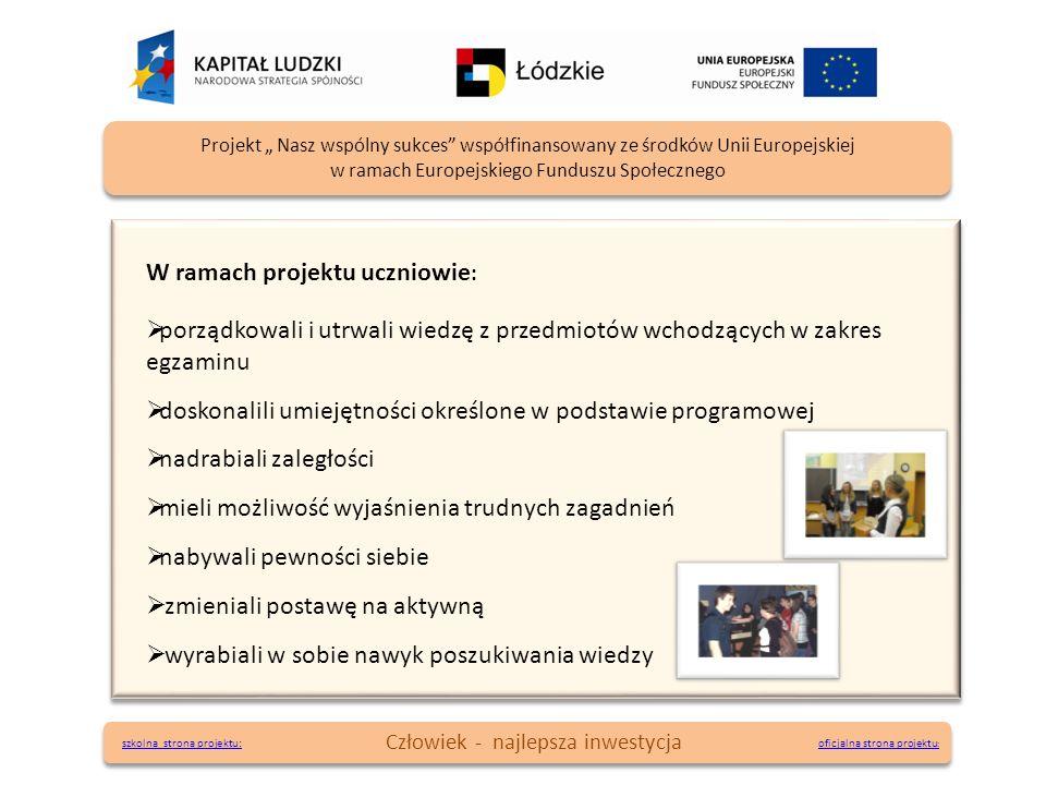 oficjalna strona projektu : oficjalna strona projektu : Projekt Nasz wspólny sukces współfinansowany ze środków Unii Europejskiej w ramach Europejskie