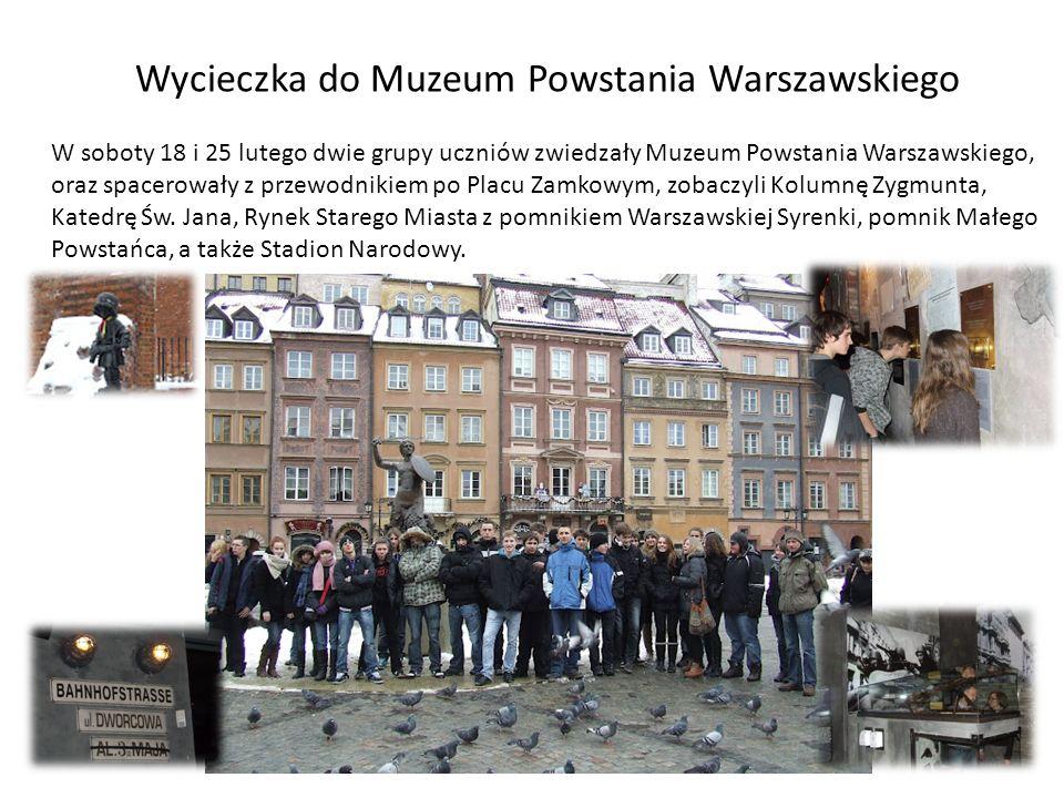 Wycieczka do Muzeum Powstania Warszawskiego W soboty 18 i 25 lutego dwie grupy uczniów zwiedzały Muzeum Powstania Warszawskiego, oraz spacerowały z pr