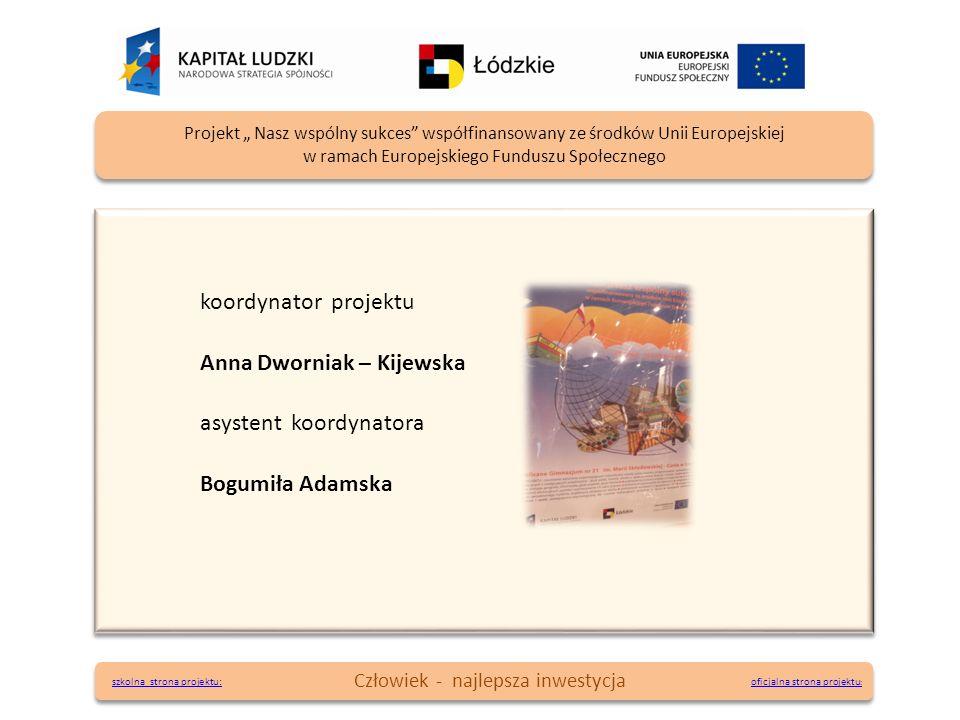 koordynator projektu Anna Dworniak – Kijewska asystent koordynatora Bogumiła Adamska koordynator projektu Anna Dworniak – Kijewska asystent koordynato