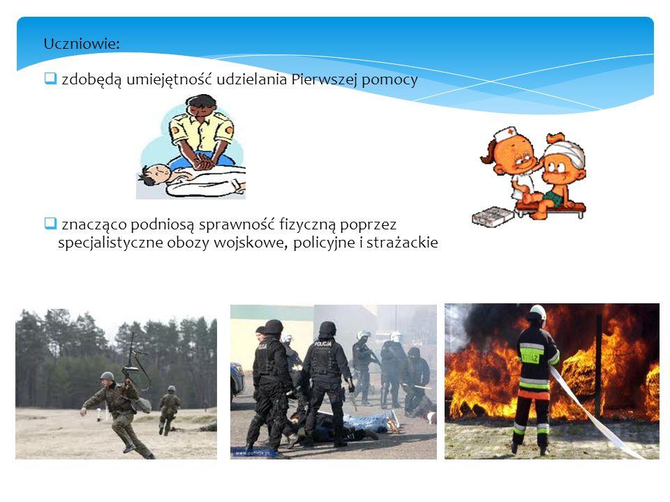 Uczniowie: zdobędą umiejętność udzielania Pierwszej pomocy znacząco podniosą sprawność fizyczną poprzez specjalistyczne obozy wojskowe, policyjne i st