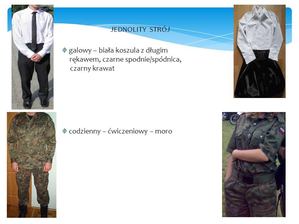 JEDNOLITY STRÓJ galowy – biała koszula z długim rękawem, czarne spodnie/spódnica, czarny krawat codzienny – ćwiczeniowy – moro