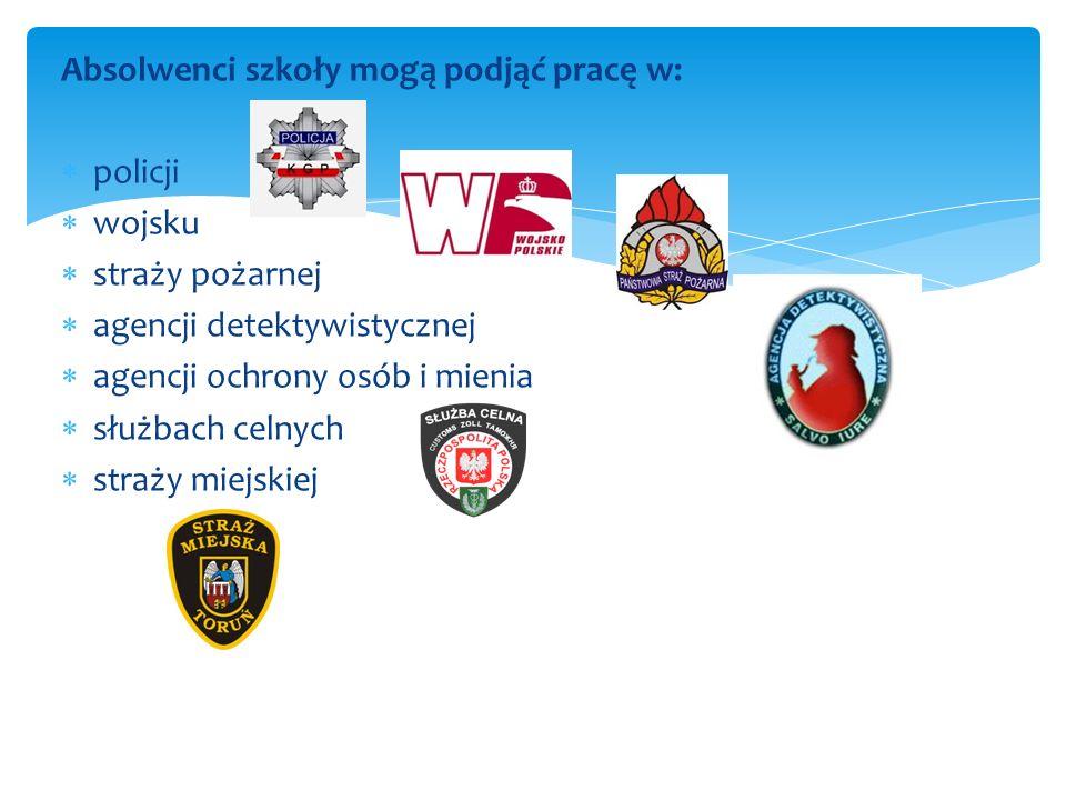 Absolwenci szkoły mogą podjąć pracę w: policji wojsku straży pożarnej agencji detektywistycznej agencji ochrony osób i mienia służbach celnych straży