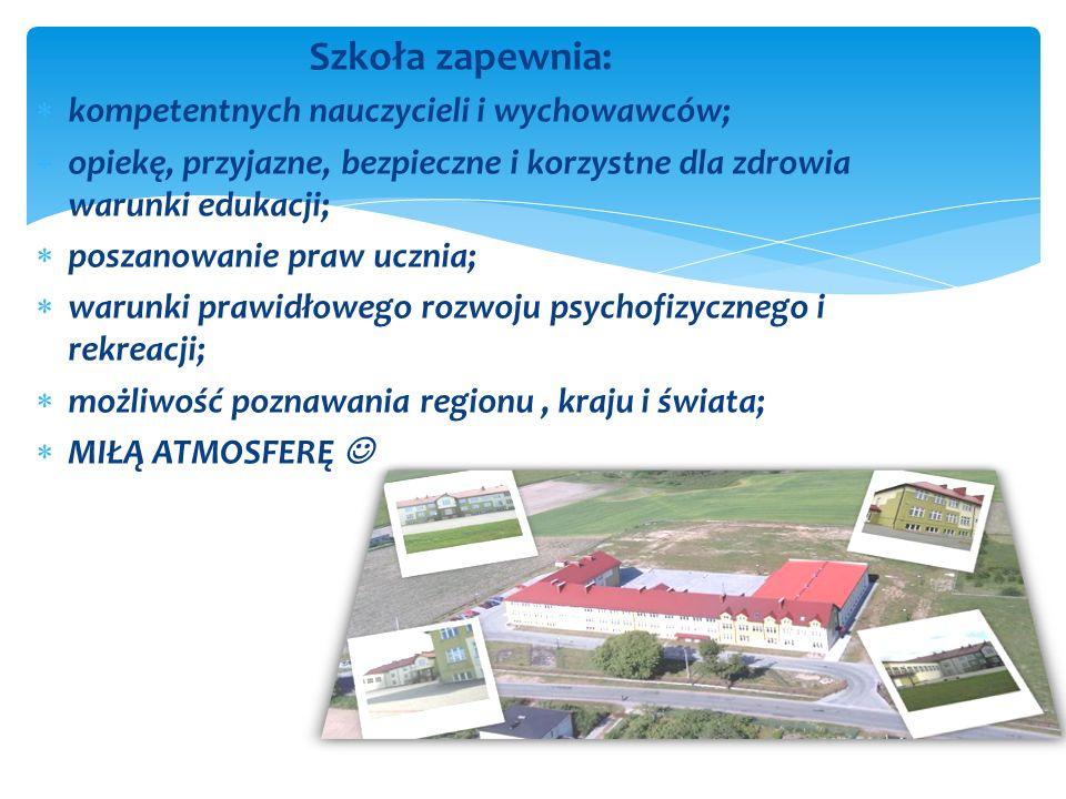 Szkoła zapewnia: kompetentnych nauczycieli i wychowawców; opiekę, przyjazne, bezpieczne i korzystne dla zdrowia warunki edukacji; poszanowanie praw uc