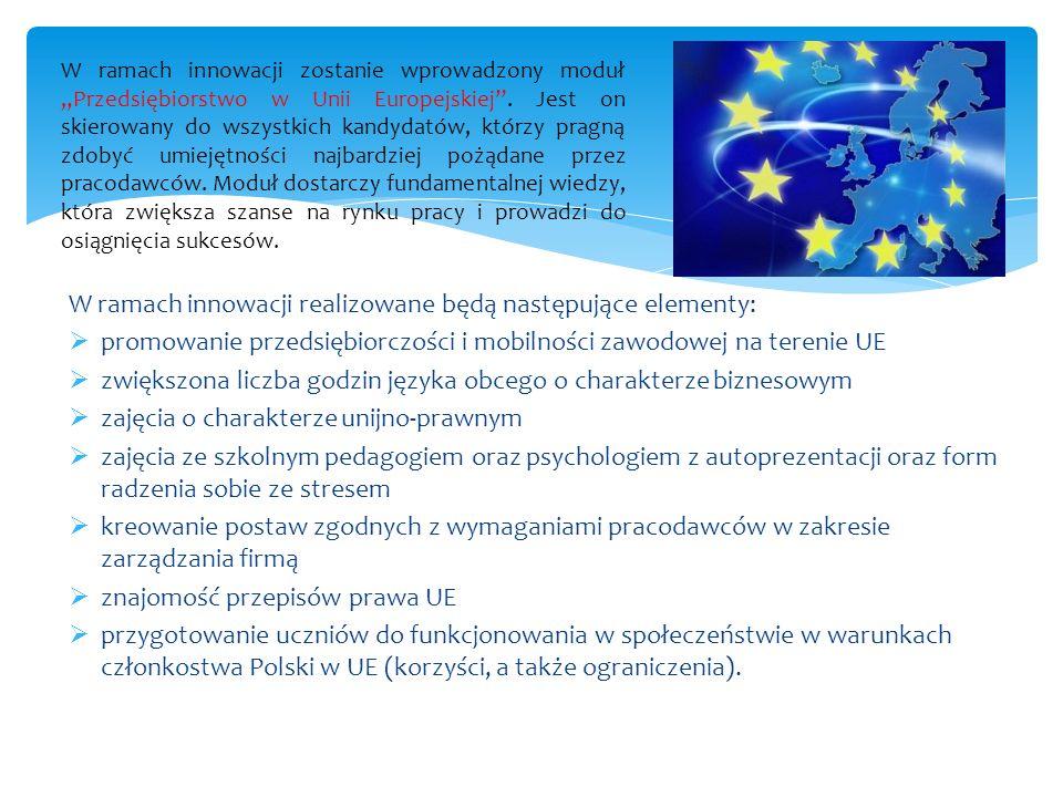 W ramach innowacji realizowane będą następujące elementy: promowanie przedsiębiorczości i mobilności zawodowej na terenie UE zwiększona liczba godzin