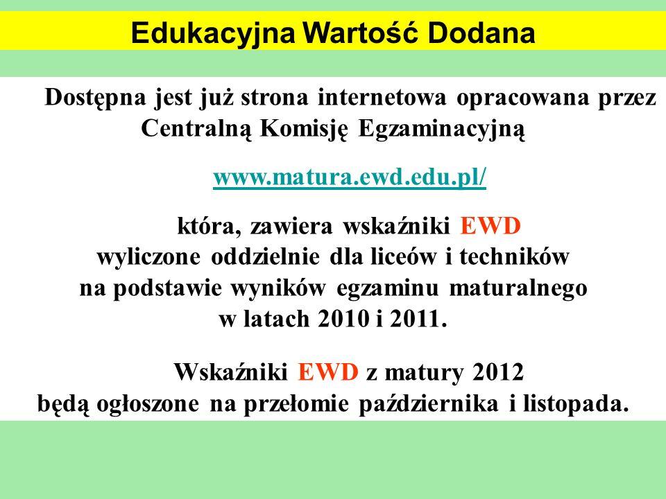 Dostępna jest już strona internetowa opracowana przez Centralną Komisję Egzaminacyjną www.matura.ewd.edu.pl/ która, zawiera wskaźniki EWD wyliczone od