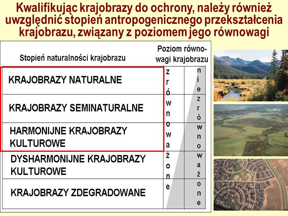Kwalifikując krajobrazy do ochrony, należy również uwzględnić stopień antropogenicznego przekształcenia krajobrazu, związany z poziomem jego równowagi