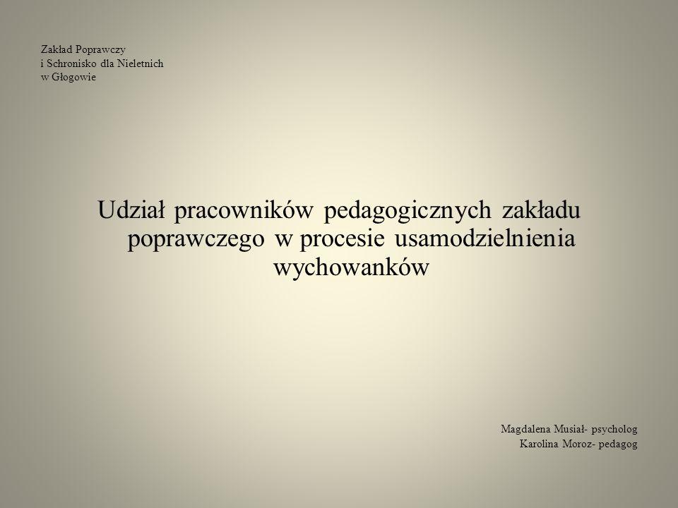 Zakład Poprawczy i Schronisko dla Nieletnich w Głogowie Udział pracowników pedagogicznych zakładu poprawczego w procesie usamodzielnienia wychowanków