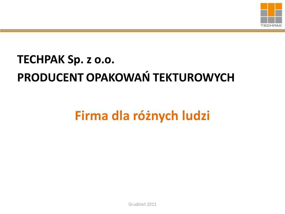 TECHPAK Sp. z o.o. PRODUCENT OPAKOWAŃ TEKTUROWYCH Firma dla różnych ludzi Grudzień 2011